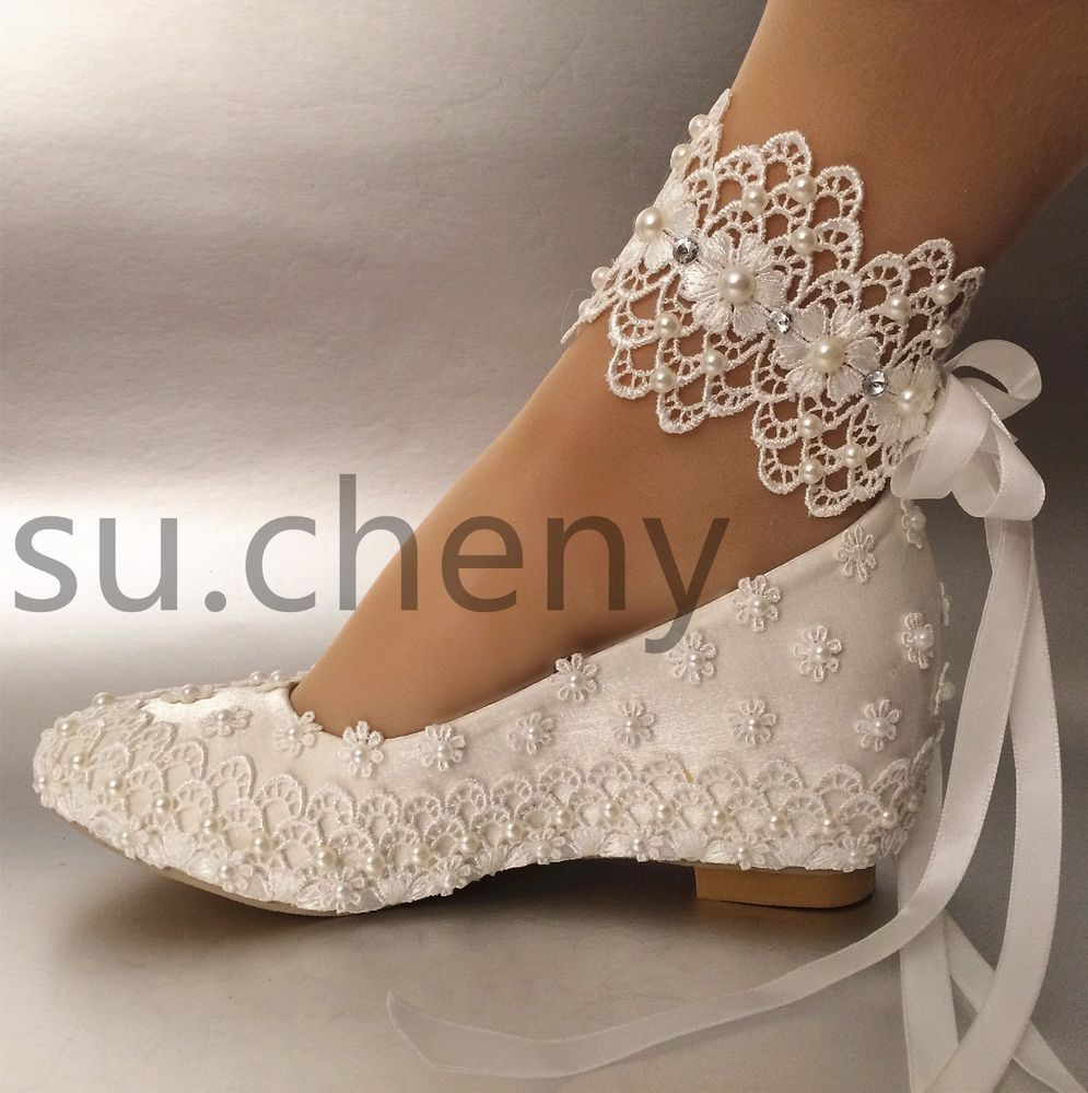 Details about su.cheny 2″ wedge white silk satin lace pearl ribbon Wedding shoes size 5-11
