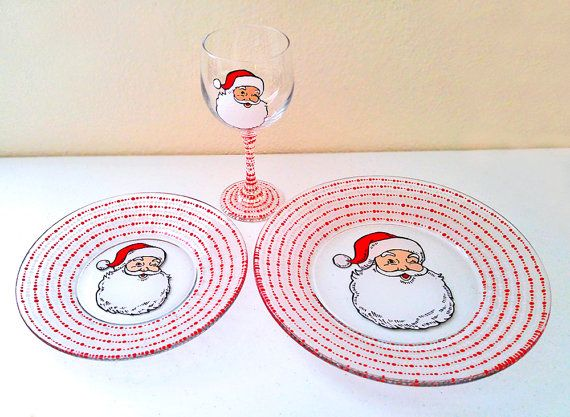 Christmas Dinnerware Santa Clause Plates Candy Cane Glass Dinner Set Hand Painted Holiday Wine Glass Santa  sc 1 st  Pinterest & Christmas Dinnerware Santa Clause Plates Candy Cane Glass Dinner Set ...