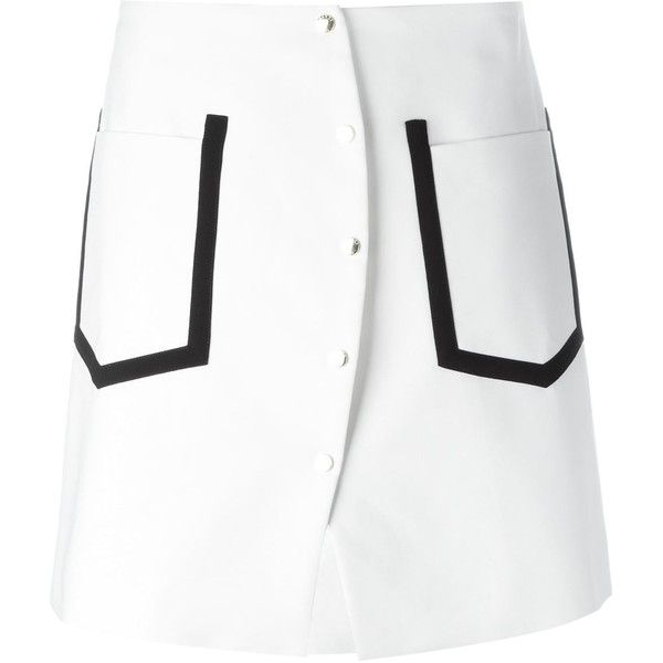 Kenzo Contrast Trim Skirt (€280) ❤ liked on Polyvore featuring skirts, white, high-waist skirt, white high waisted skirt, white a line skirt, a line skirt and button front skirt