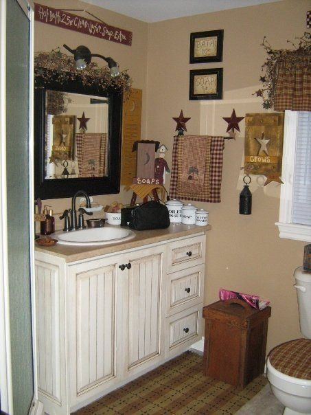 1000 images about primitive bathroom on pinterest for Country bathroom decor