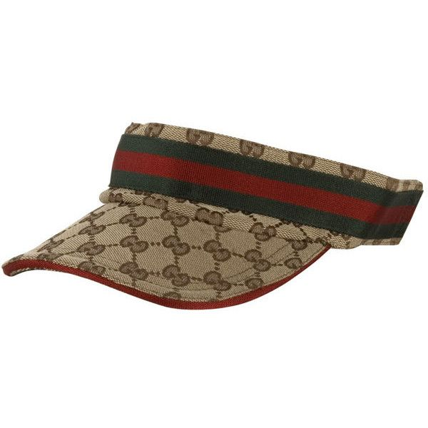c5c75d25712c2 Gucci Logo Jacquard Visor Hat ( 110) ❤ liked on Polyvore featuring  accessories