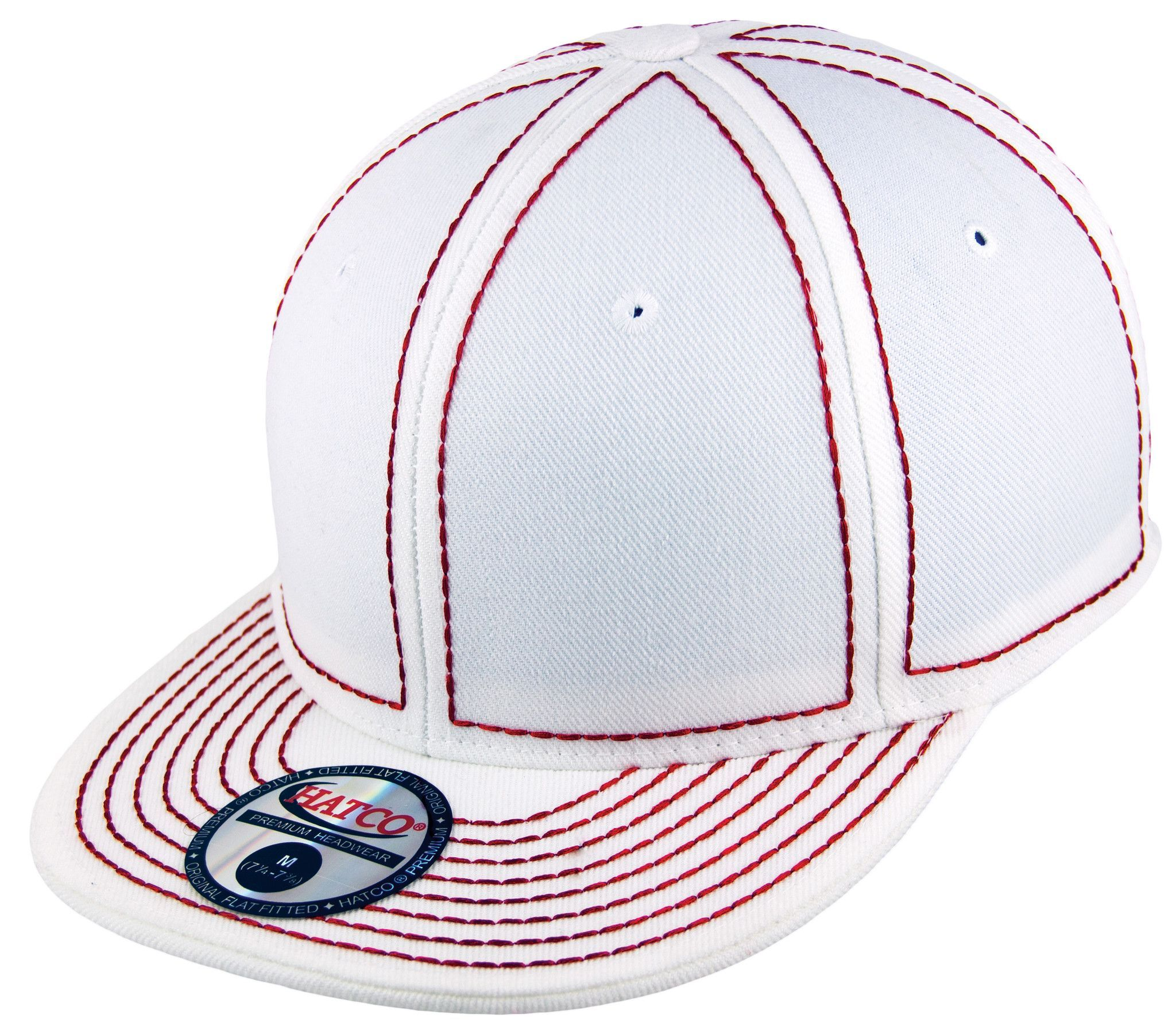 Blank Heavy Stitch Fitted Cap - White/Red