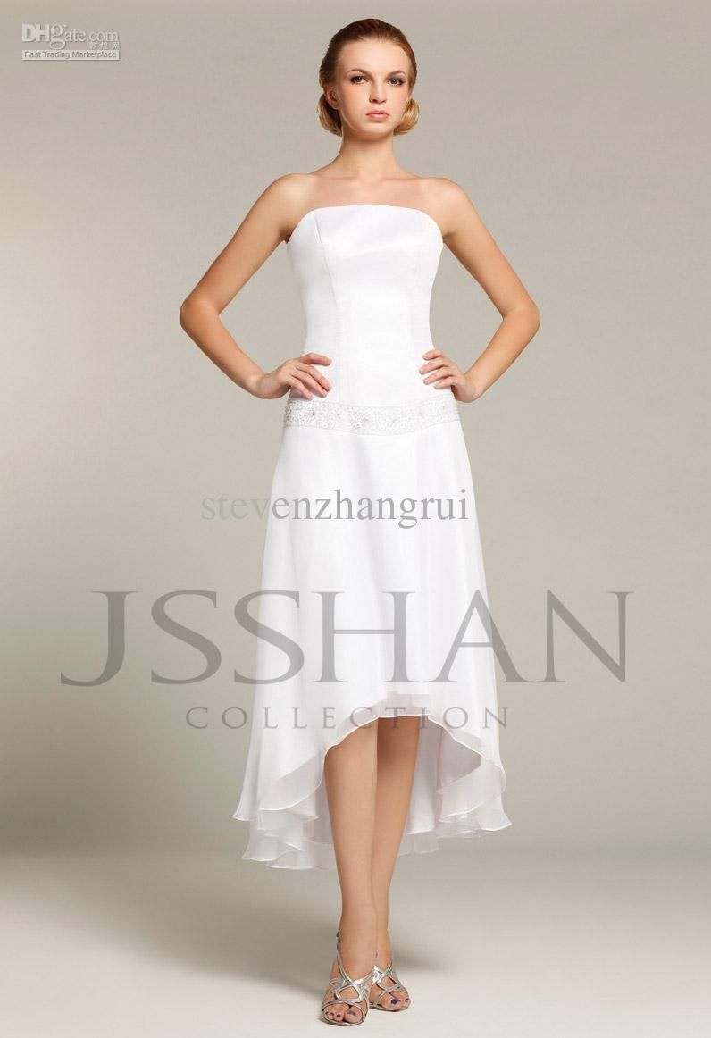 Mid calf length western dress beaded chiffon beach for Mid length wedding dress