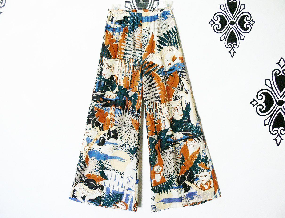 60/'s PAISLEY PALAZZO PANTS high-waisted x-small