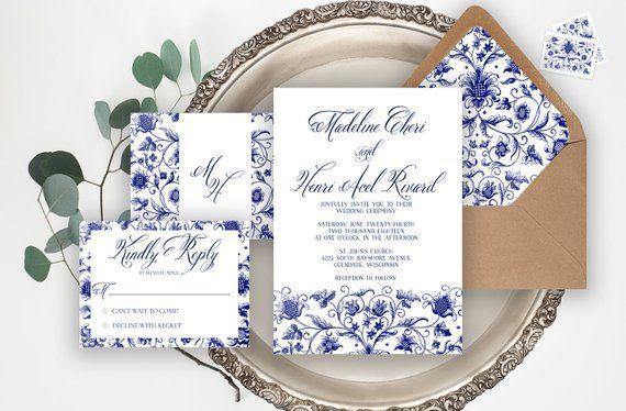 Chinoiserie Fl Wedding Invitation Suite Vintage