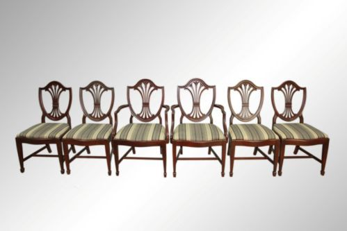 16429 Antique Set Of Six Shield Back Dining Chairs By Drexel