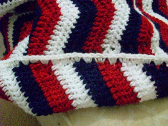 Red White And Blue Patriotic Crocheted Afghan I Need To Find This