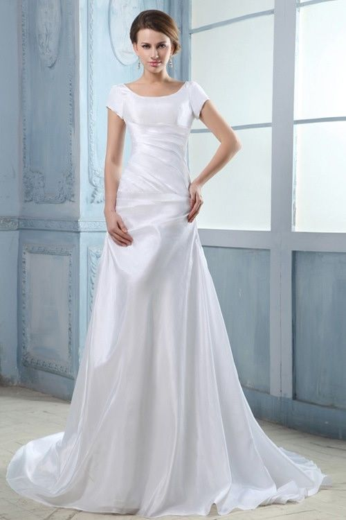 Short Sleeve Satin Wedding Dress Add some silver crystals and ...
