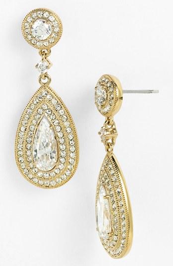 Nadri Jewelry Nadri Pear Drop Earrings Gold Clear Nadri Pear