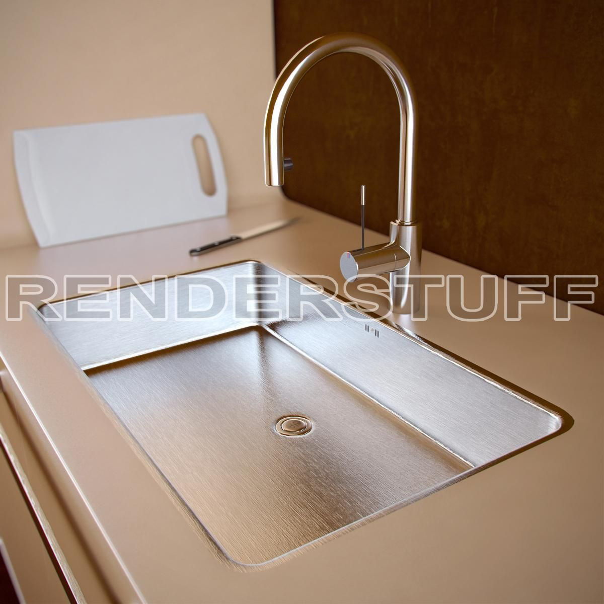 New Kitchen Sink Granite Top Island 3d Model With Faucet Modern Elegant Models