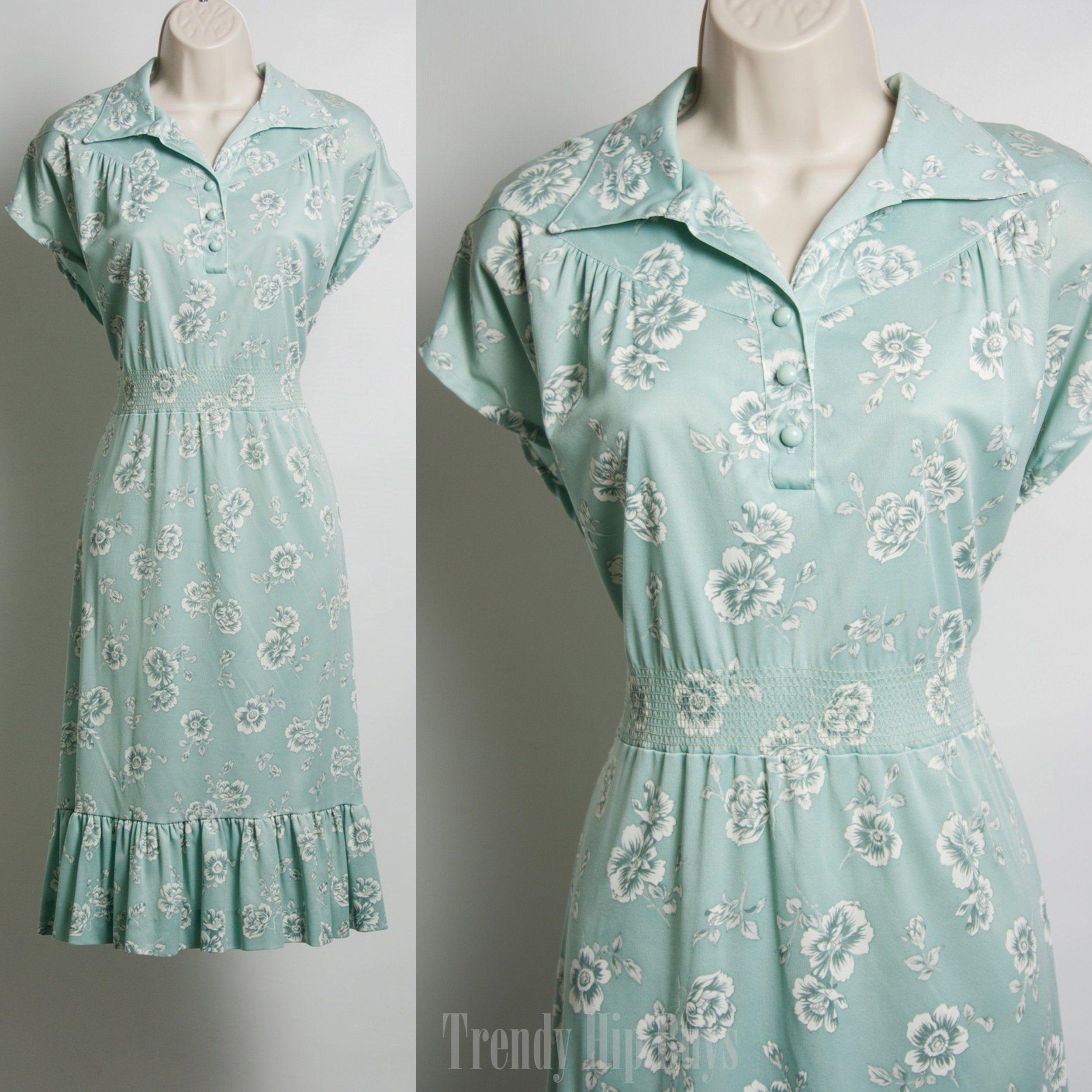 Vintage 1960s Mad Men Blue Patterned Dress