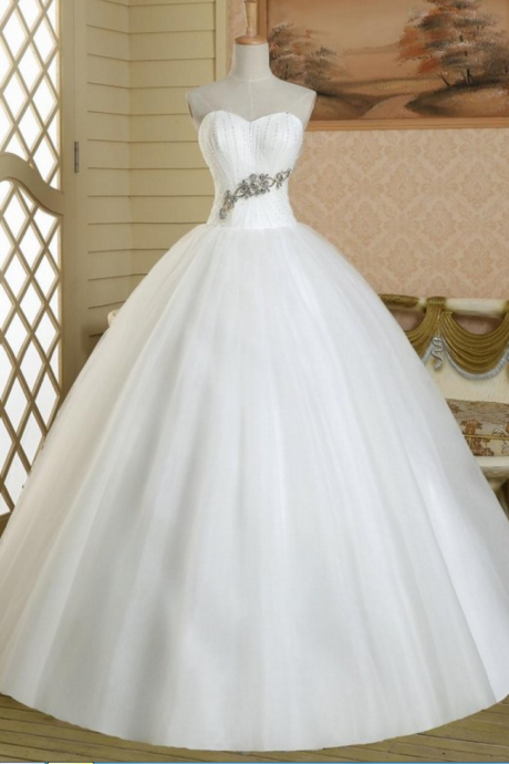 Sparkling Crytal Beaded Princess Ball Gown Wedding Dress Prom Bridal Dresses