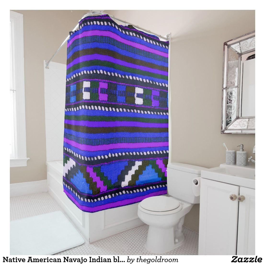 Native American Indian Blue Texture Design Shower Curtain Zazzle