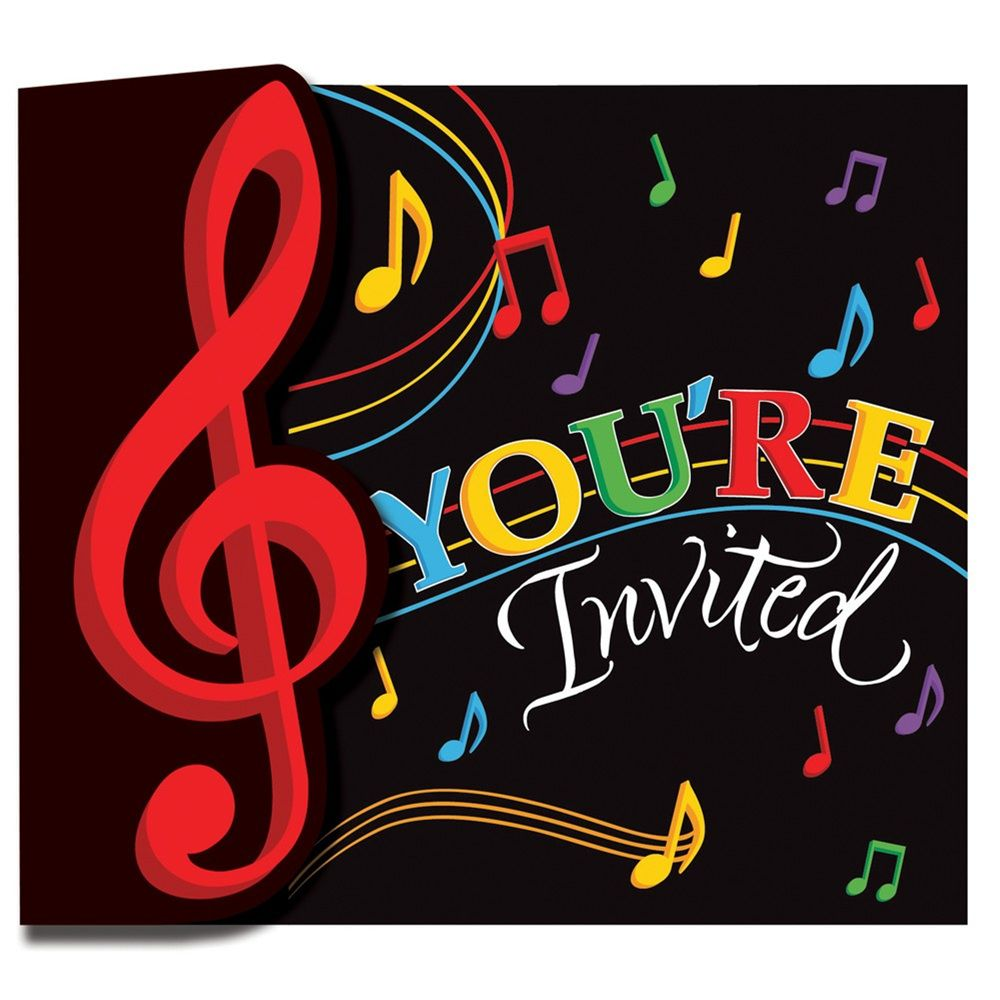 Dancing Music Notes Invitation Gatefold/Case of 48   Party Supplies ...