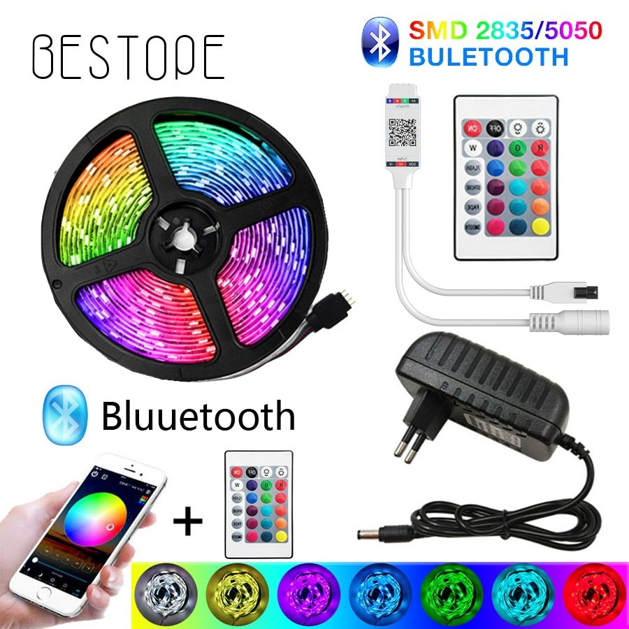 Bluetooth Led Strip Lights 20m Rgb 5050 Smd Flexible Ribbon Waterproof Rgb Led Light 5m 10m Tape Diode Dc 12v In 2020 Led Strip Lighting Rgb Led Lights Strip Lighting