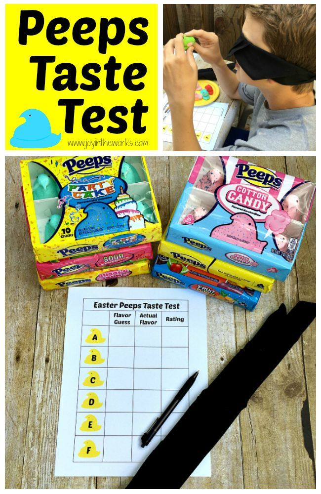 Did you know that Easter Peeps come in different flavors now? From cotton candy to sour watermelon, there are lots of yummy flavors for this classic Easter treat! To make it even more fun, we decided to do a blind Peeps Taste Test to see if the kids could identify the flavors! Free printable available for you to do the same! #peeps #easter #tastetest #easterpeeps #familyfun #easteractivity