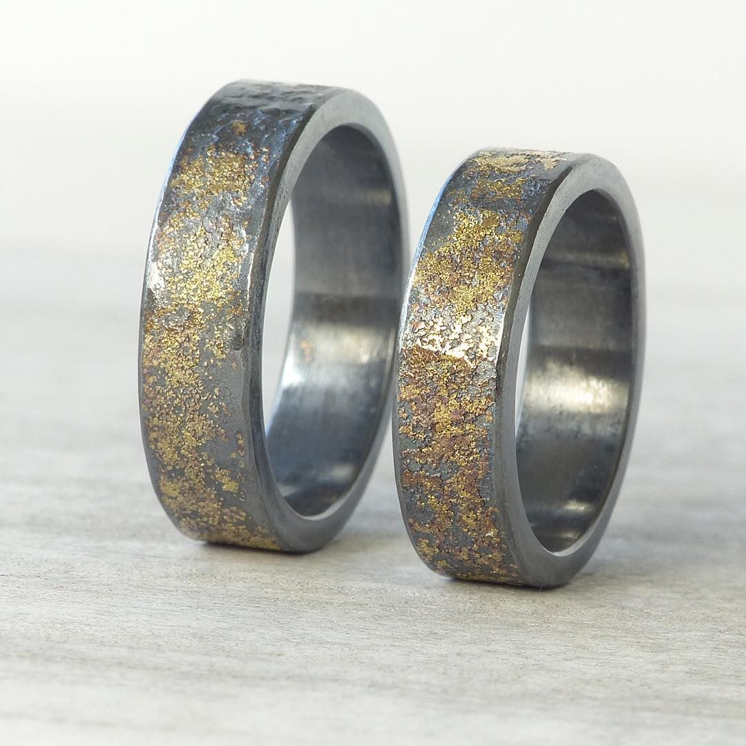 ca8ac475e6 Lilia Nash Jewellery @lilianashjewellery Men's stardust rings for a couple  of orders I received. It is always amazing to see how the gold pattern  appears ...