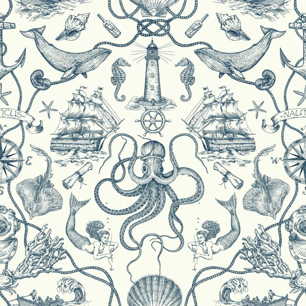 York Wallcoverings 56 sq. ft. Tailored Deep Sea Toile
