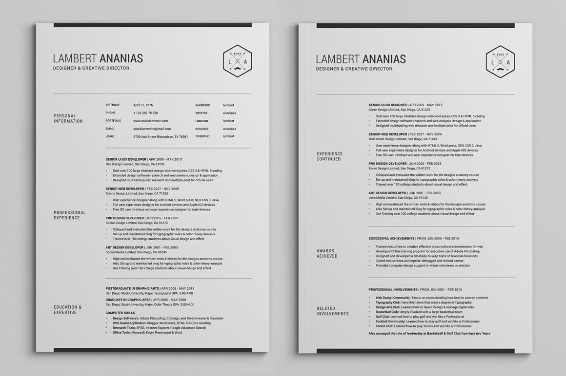 2 Pages Resume Cv Pack Lambert Resume Cv Resume Cover Letter Template