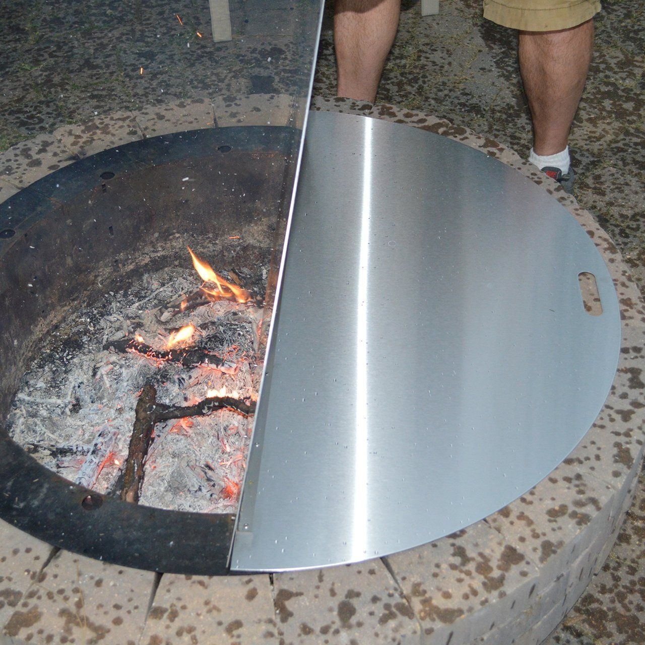 40stainless Steel Metal Round Fire Pit Campfire Ring Cover Snuffer Lid Grill Fire Table Or Wood Burning Pati Stainless Steel Fire Pit Fire Pit Steel Fire Pit
