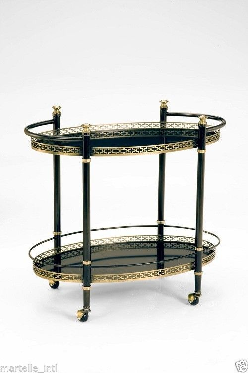 Bar Cart Brass Gallery Laser Cut Oil Rubbed Bronze Finish