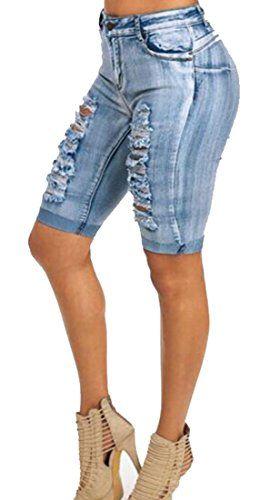 a54f6e0ed0e OULIU-Women OULIU Womens Middle Waisted Ripped Denim Shorts Short Jeans Knee  Length Denim Shorts