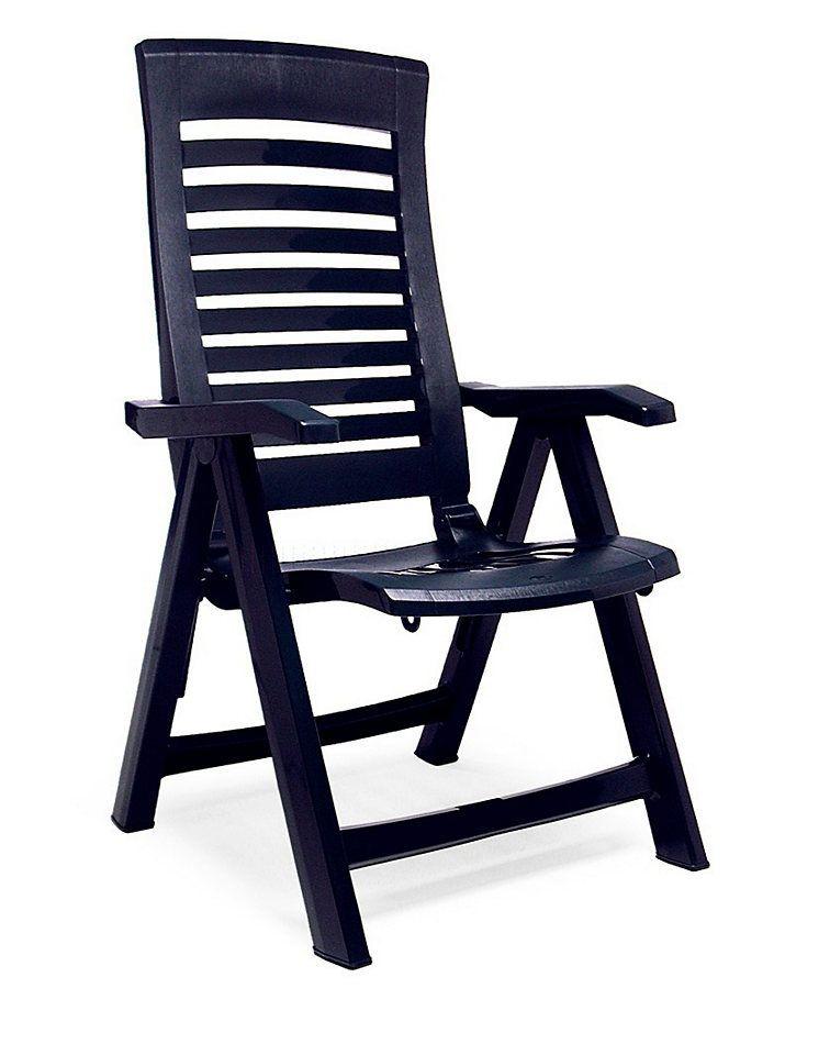 BEST Gartenstuhl »Florida«, (2er Set), Kunststoff, verstellbar, blau ...