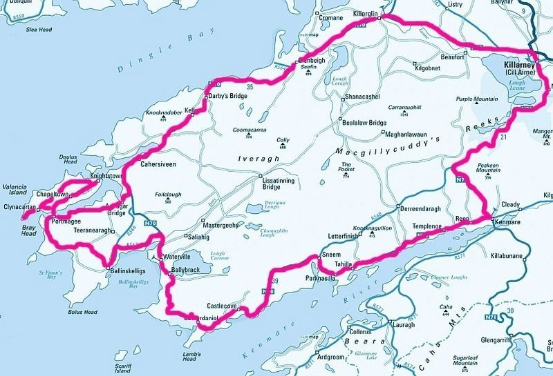 kerry irland karte Karte  Ring of Kerry   Irland