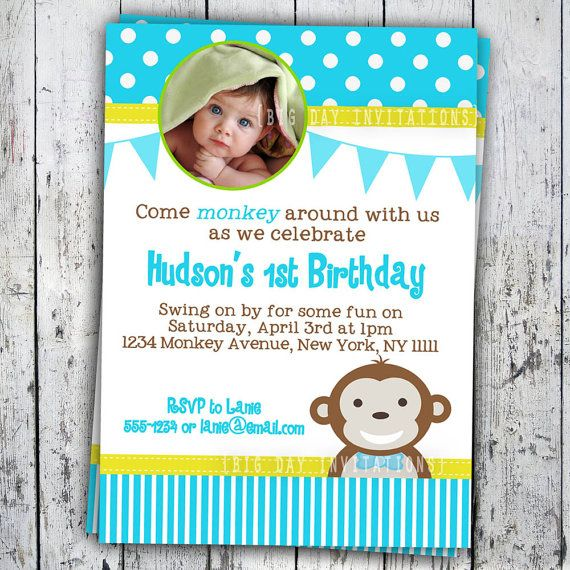 Mod monkey birthday invitation 1st birthday polka dot birthday party mod monkey birthday invitation 1st birthday polka dot birthday party invitation boys or girls printable filmwisefo Image collections