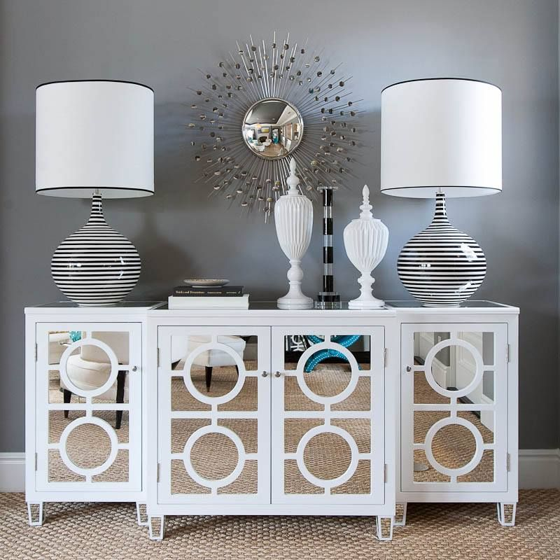 Circles White Mirrored Buffet Console from GlamFurniture.com - $2900.00 - Circles White Mirrored Buffet Console From GlamFurniture.com