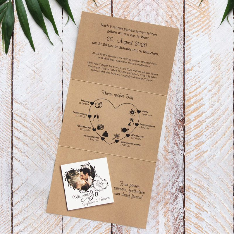 Have Your Wedding Invitation Printed With A Heart Note Www Meine Wedding Gift Bridalshow In 2020 Wedding Invitations Printing Wedding Invitations Invitations