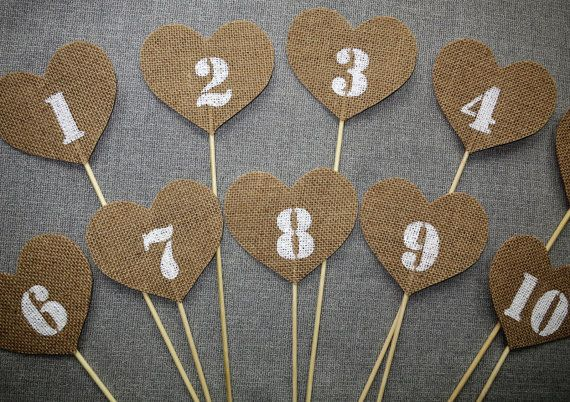 Burlap Table Numbers 1-10 table number pennants by Agitasworks