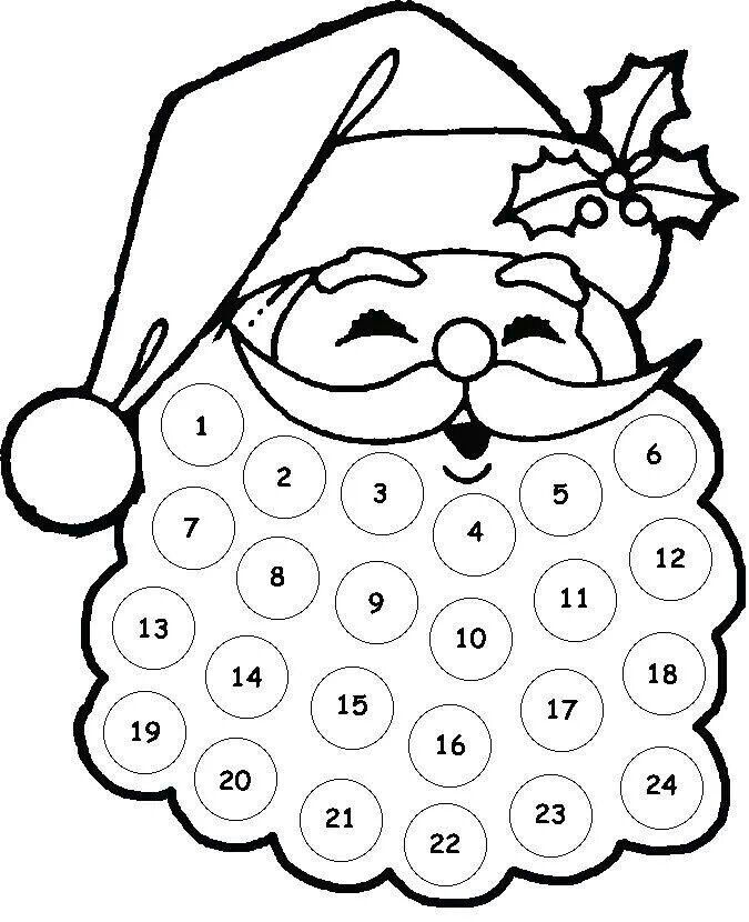 Free Printable Santa Claus Advent Calenders Preschool Christmas