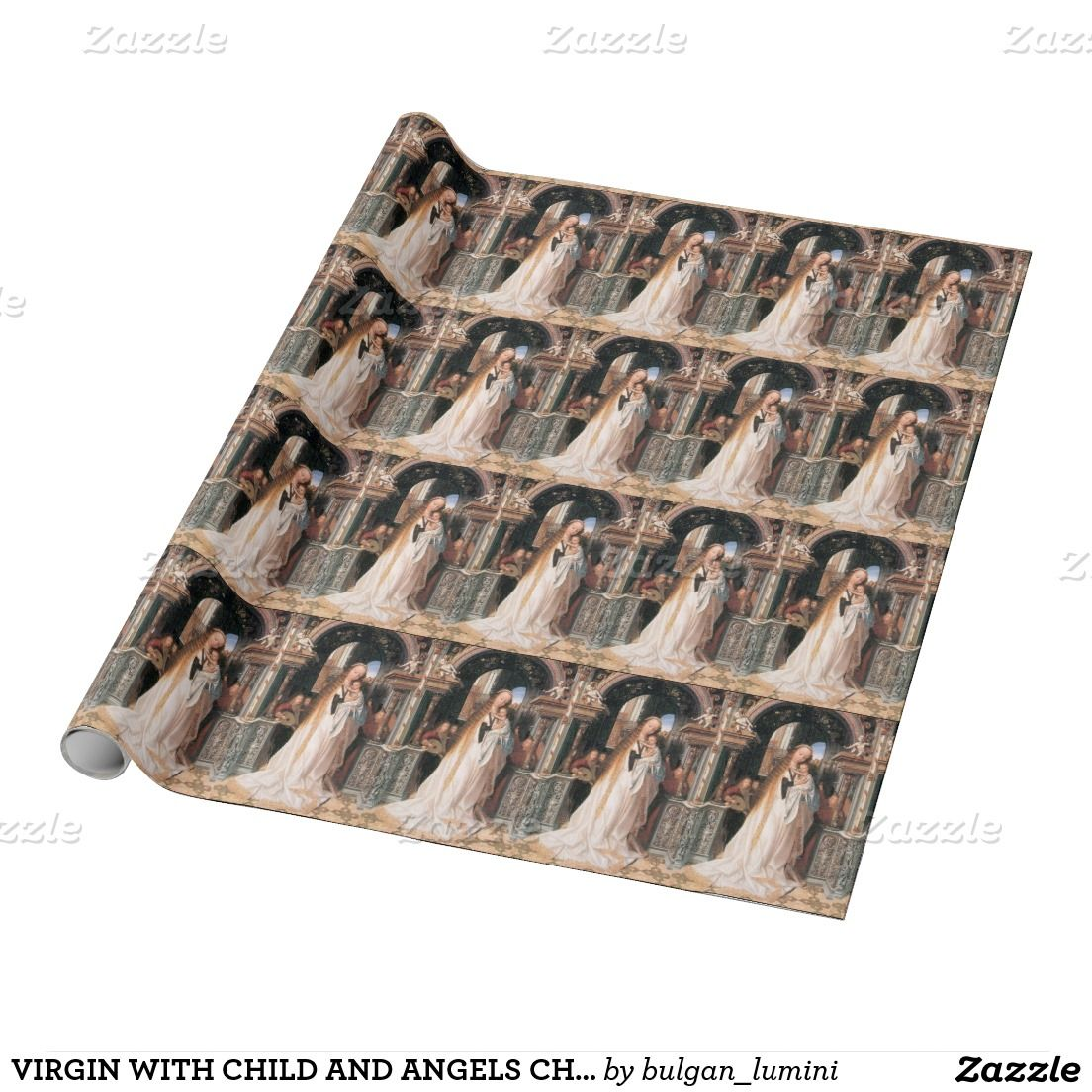 VIRGIN WITH CHILD AND ANGELS CHRISTMAS GREETINGS WRAPPING PAPER