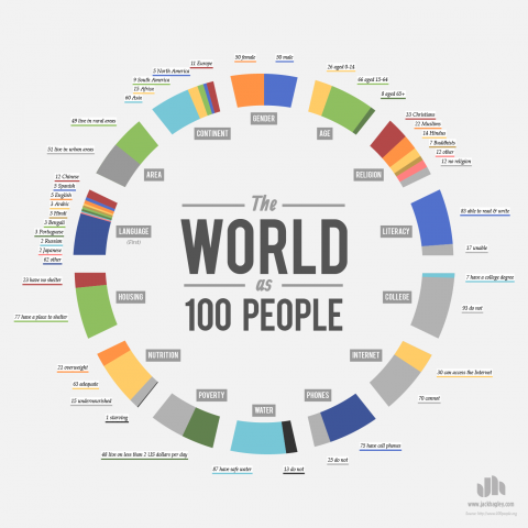 What languages would be spoken if the world were represented by 100 people? #language #infographic