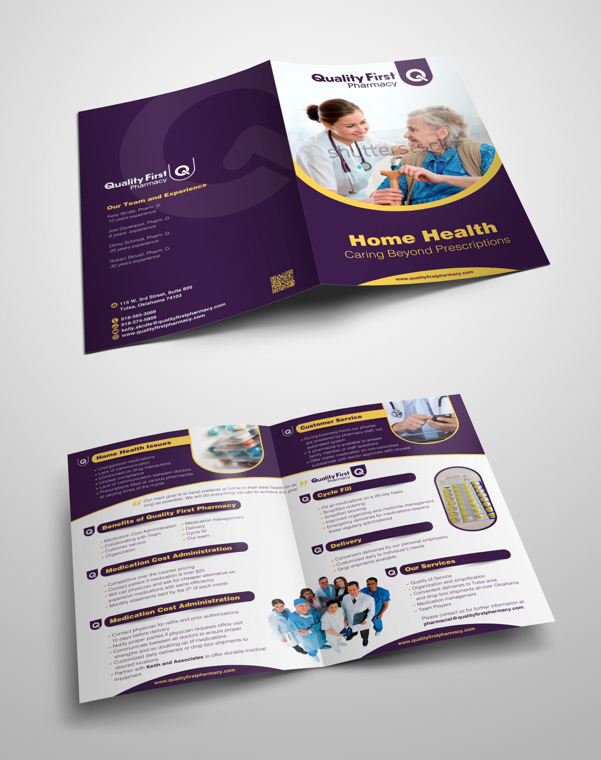 two fold or bi fold brochure love the colors the royal purple and