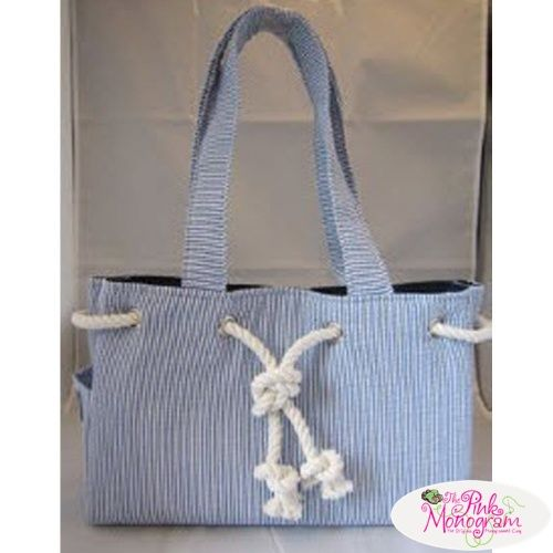 Monogrammed Seersucker Rope Trim Handbag  Apparel & Accessories > Handbags > Tote Handbags
