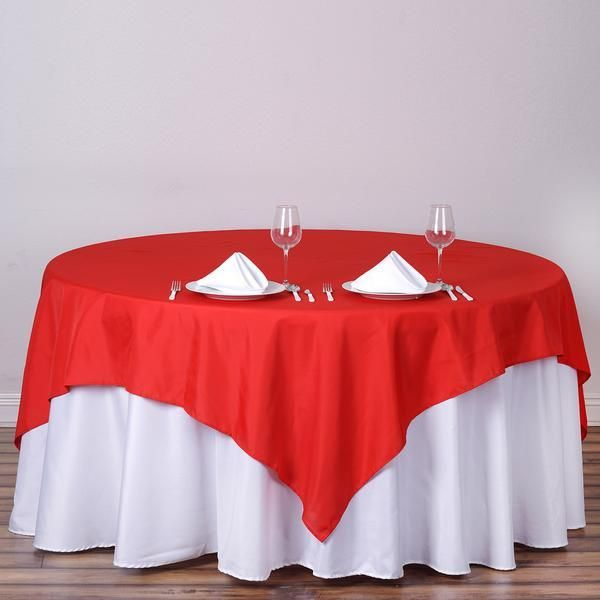 """90"""" Red Premium Square Polyester Table Overlay Table"""