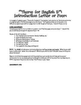 Langston Hughes Poem \'Theme for English B\' Worksheet and Writing ...