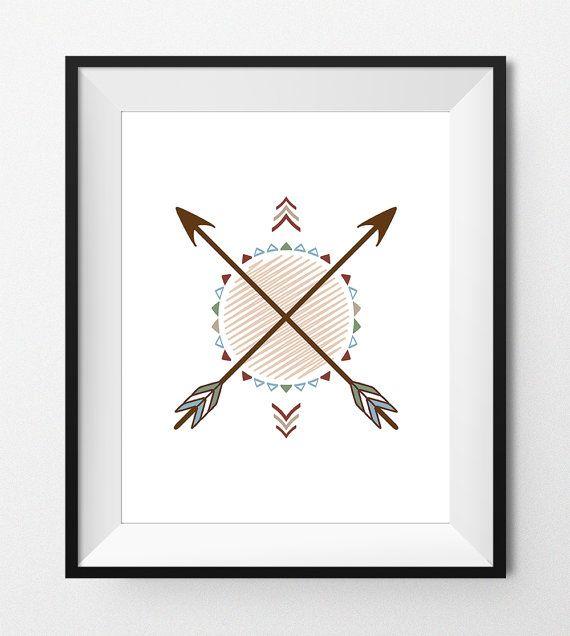 Digital Print Art  TRIBAL CROSS ARROWS  Native by FlavoreePrints
