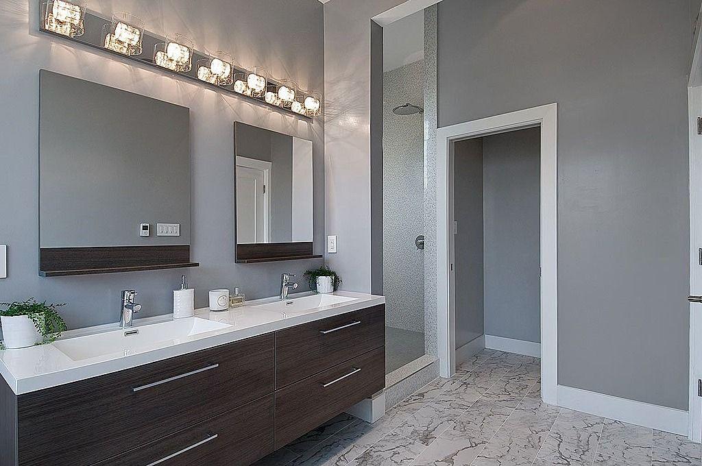 bathroom dark cabinetslight countertop wall paint color