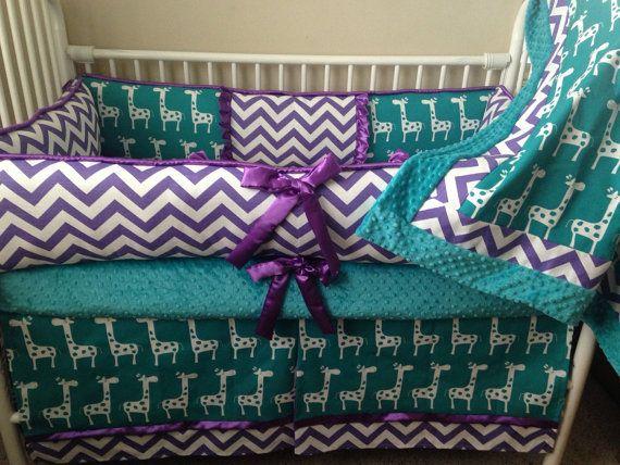Purple And Teal Giraffe Chevron Baby Bedding Crib Set Deposit Only Chevron Baby Bedding Baby Bed Baby Shower Giraffe