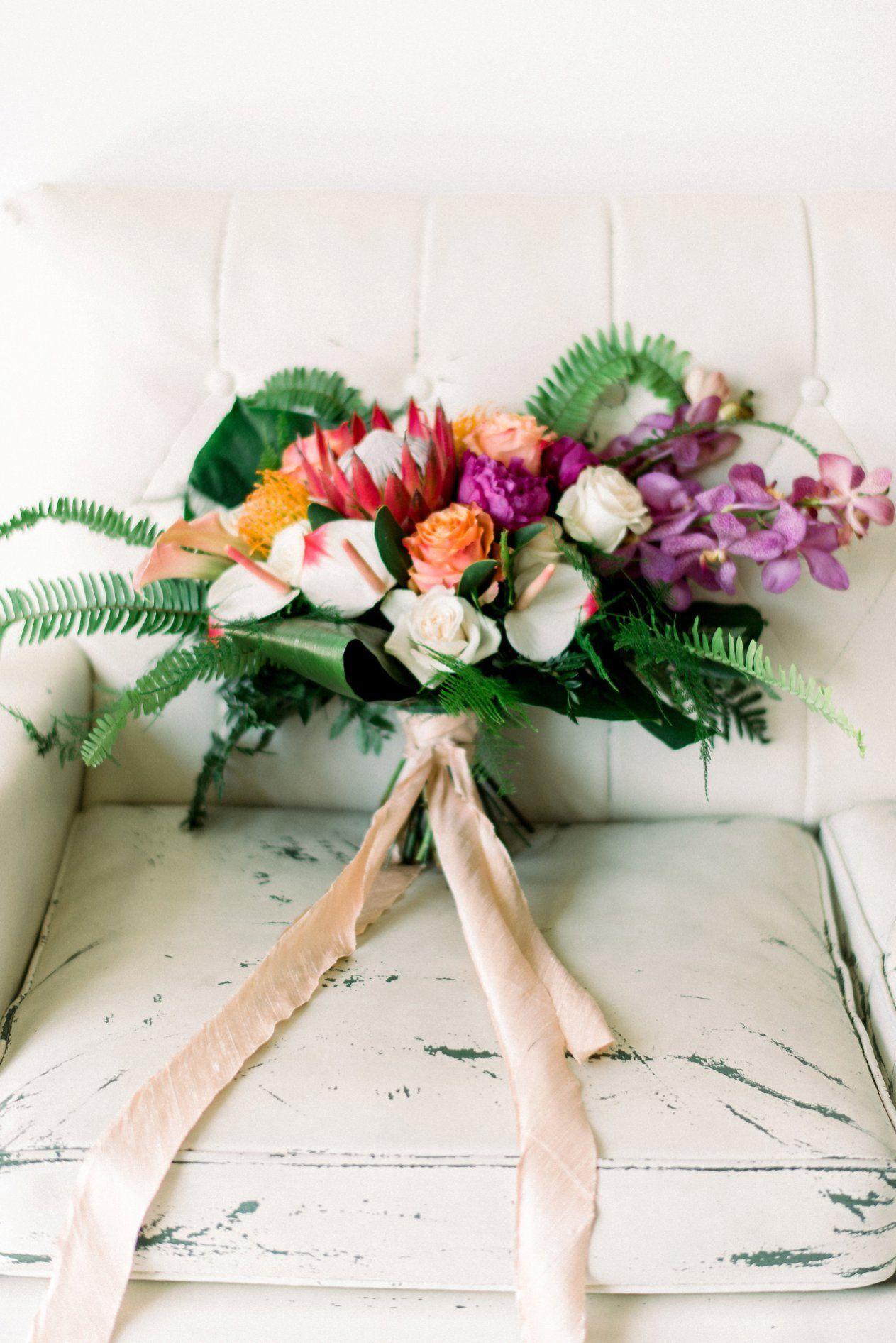 Industrial Meets Tropical Flair Prism Tropical Wedding Inspiration Tropical Wedding Tropical Bridal Bouquet