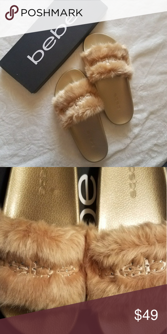 Wheat BeBe Faux Fur Slide Sandals Get a cute and casual style with bebe Furiosa Slide Sandals 😍Price is Firm*  •Brand New  •Faux Fur Upper •Very comfy •Embroidered logo with rhinestone embellishments •Man made sole •Box included   Message me for any questions 🤗 bebe Shoes Sandals