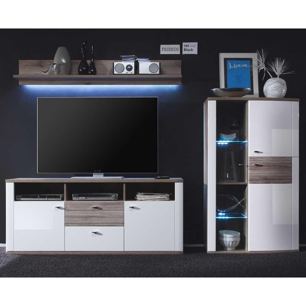 Wohnzimmer Wohnwand In Weiß Hochglanz Eiche Rustikal (3 Teilig) Jetzt  Bestellen Unter: