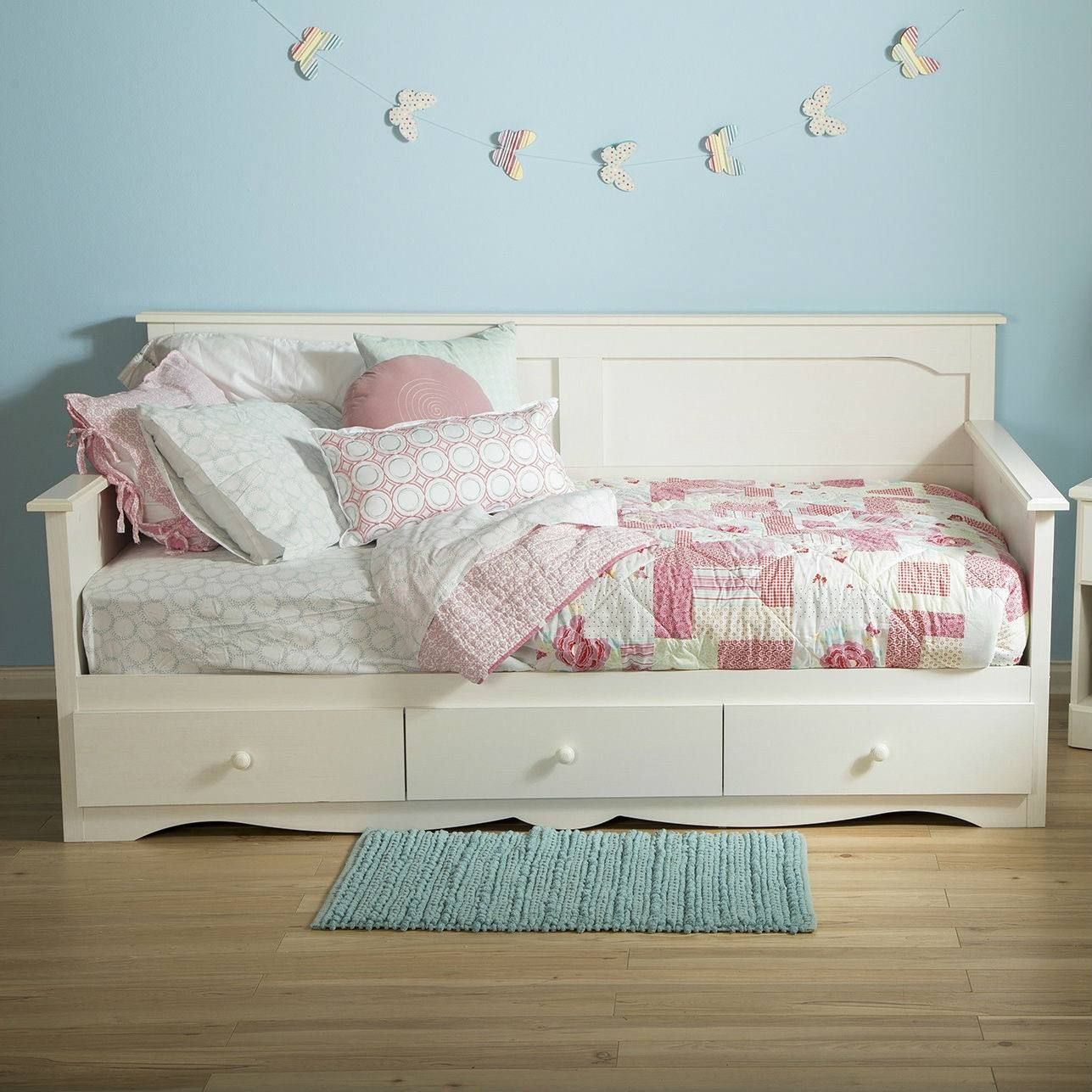 Twin size Country Style White Wood Daybed with 3 Storage