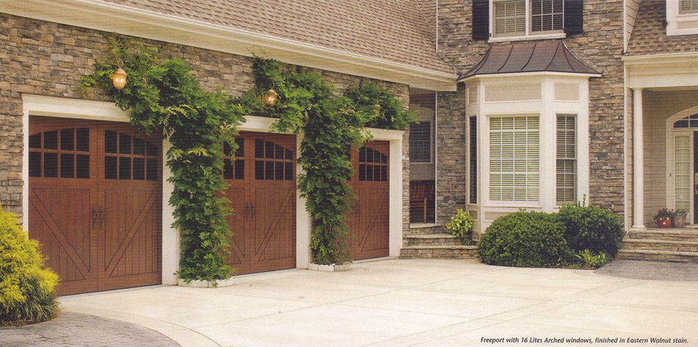 Image Result For Green House With Walnut Garage Door