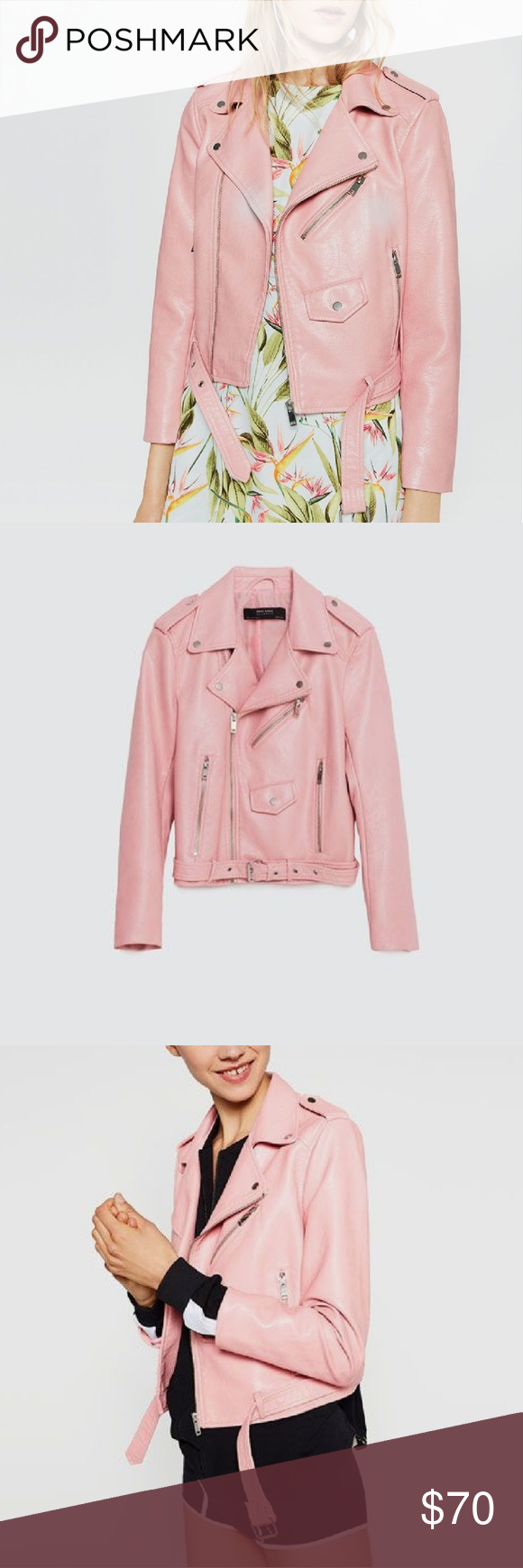 1 Day SALE 🌸 Pink Leather Zara Jacket (With images