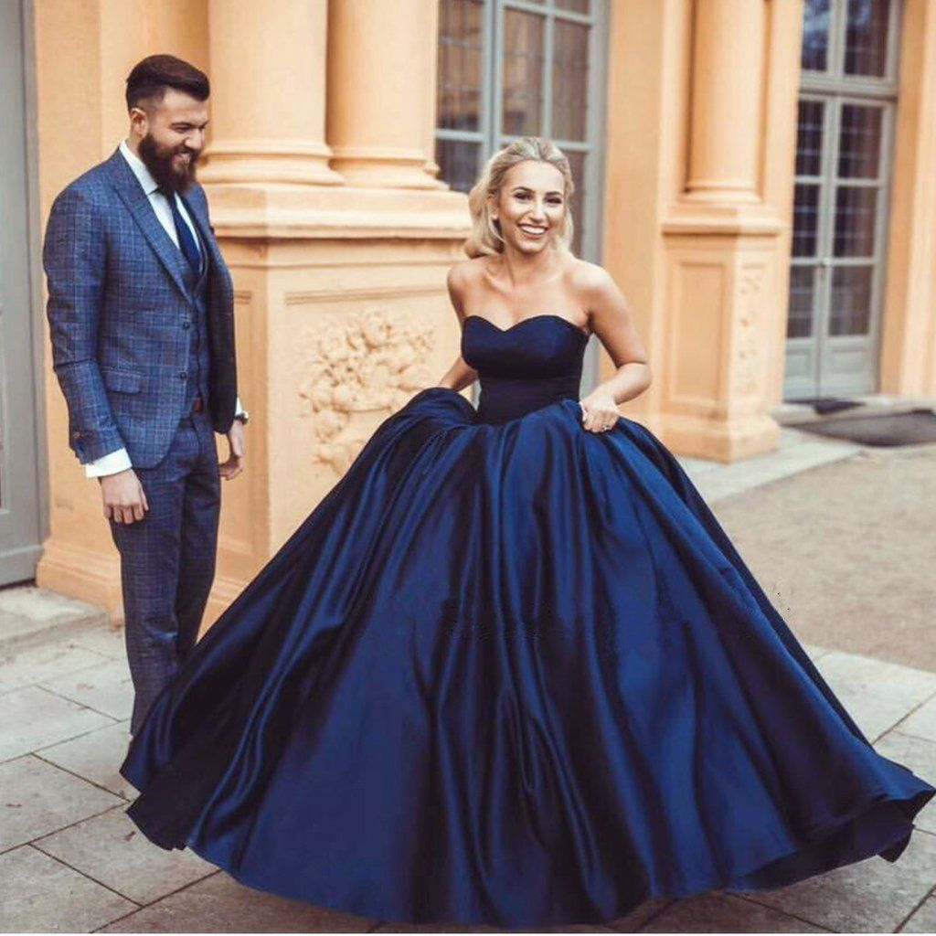 Navy Blue Sweetheart Ball Gowns Satin Wedding Dresses 2019