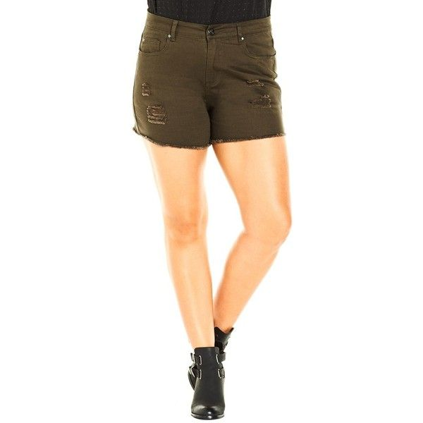 Plus Size Women's City Chic 'The Explorer' Short Shorts ($59) ❤ liked on Polyvore featuring shorts, olive, plus size, hot shorts, plus size shorts, summer shorts, mini shorts and plus size short shorts